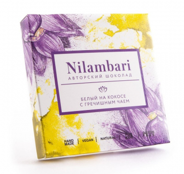 Шоколад Nilambari белый на кокосе с гречишным чаем, 65 гр.