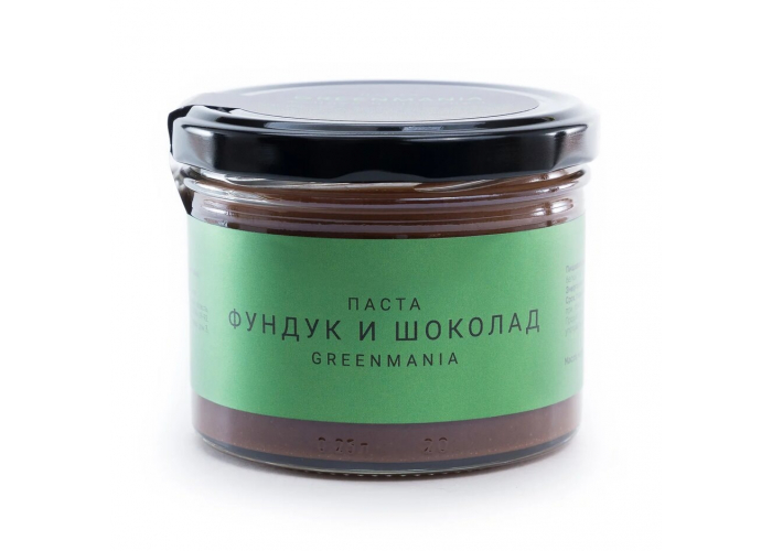 Паста GreenMania фундук и шоколад, 200 гр.