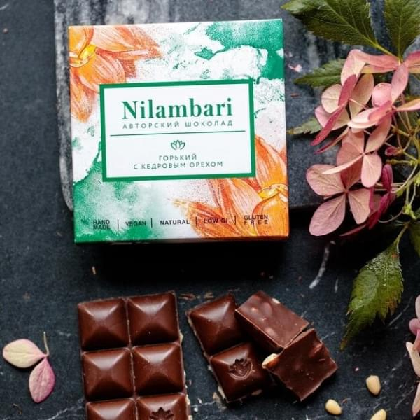 Шоколад Nilambari горький с кедровым орехом, 65 гр.