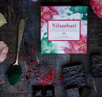 Шоколад Nilambari горький малина-спирулина, 65 гр.
