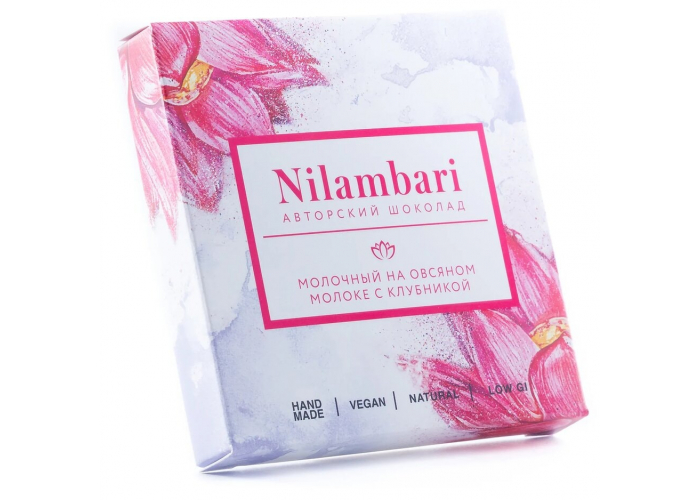 Шоколад Nilambari молочный на овсяном молоке с клубникой, 65 гр.