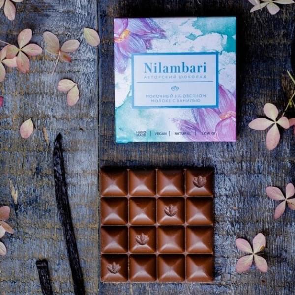 Шоколад Nilambari молочный на овсяном молоке с ванилью, 65 гр.