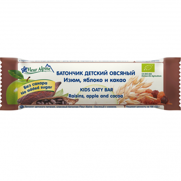 Батончик детский овсяный, изюм, яблоко и какао, Fleur Alpine, 23 гр.