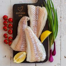 Треска атлантическая филе без кожи (хвостовая часть) свежемороженная, 0,7 кг.