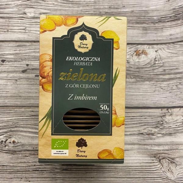 Чай зеленый цейлонский с имбирем ОРГАНИЧЕСКИЙ, 25 пак.