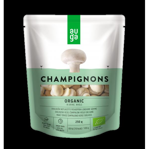Шампиньоны в рассоле органические Auga, 250 гр
