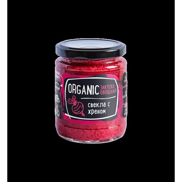 """Закуска овощная """"Organic"""" свекла с хреном Rudolfs, 235 г."""