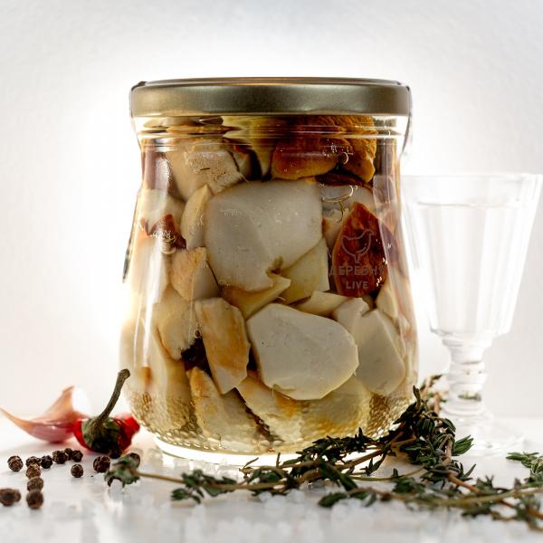Белые грибы резаные соленые, 500 гр.